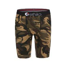 Ethika Brown camouflage Man Long Boxer Underwear Sports Short Pants Size XXL