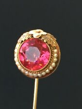 Rare Vintage 3.28g Gold Antique Round Syn Sapphire Pearl Pin Brooch Gem Stone