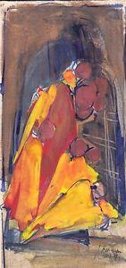 Judith Har Even: Mother & Children 1967 / Israeli Jewish Modernism S/Watercolor