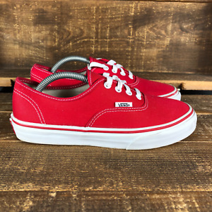 Vans Womens Red White Classic Low Lace Up Canvas Skate Sneakers Shoes Size 5