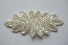 """3 5/8"""" White Flower Trim Fringe Beaded Sequin Applique-BS07W"""
