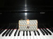 Dooney and Bourke Gray Canvas/ Tan Leather Clutch Wallet Checkbook DB Signature