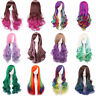 Women Girls Long Cosplay Wig Body Wave Long Curly Gradient Color Hair Wigs Party