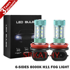 6-Sides H11 H8 H9 LED Fog Light 8000K Ice Blue 100W Headlight Bulbs High Power