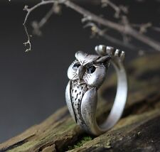 Lucky Owl Ring Women's Unique Animal Bird Ring Jewelry Adjustable Gift Idea