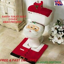 Conjunto De Cubierta de asiento de inodoro de Santa Alfombra de Baño Decoración de Navidad Presente Regalo Diversión