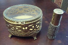 """French Art Deco jewelry box and perfum bottle """"Intimate"""" with some perfum inside"""