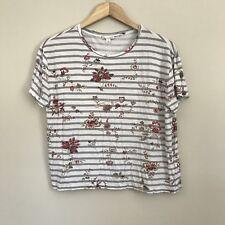 Gap Women's S Striped Floral Print T Shirt White Gray Red Boxy 100% Viscose A2