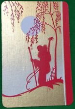Playing Cards 1 Swap Card - Vintage Art Deco MAN + GUITAR Hiking in MOONLIGHT 2