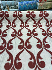 Fleur De Lis Ruby Red Jacquard Reversible Fabric By the Yard