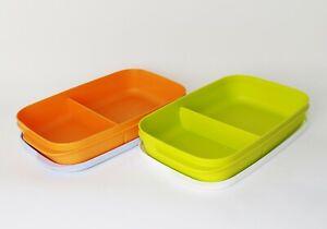 TUPPERWARE Clevere Pause 2x590ml mit 2fach Einteilung Orange/Hellblau +Grün/Weiß