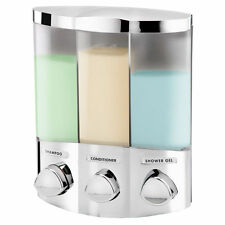 The Dispenser SOAP DISPENSER Euro 3 Shower Push Button Plastic 3x420ml Chambers