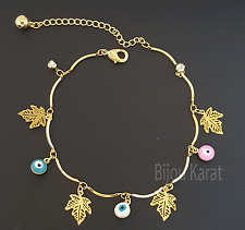Nazar Evil Eye Gold Armband Armkette Fußkette Bettelarmband Blaues Auge Blätter