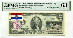 $2 DOLLARS 1976 STAMP CANCEL SPIRIT 76 & DUCKS LUCKY MONEY VALUE $3000