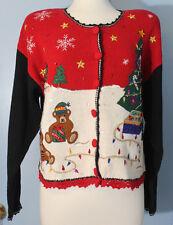Ladies Christmas Tree Lights Teddy Bear Cardigan Holiday Sweater Size M