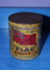 ANTIQUE CIGARETTES CAN TIN ENGLAND UNITED KINGDOM FLAG W.D & H. O. WILLS TOBACCO