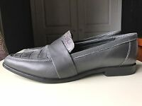Dune Designer Grey Leather Ladies Women Flat Pump Court Flat Shoe Size 5 38