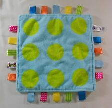 """Taggies Blue Green Circle Polka Dot Lovey Baby Security Blanket 12"""" Square"""