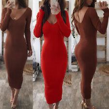 Women V-neck Midi Dress Ribbed Knit Long Sleeve Dresses Bodycon Party Clubwear