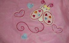"Carter's Pink Plush Ladybug Hearts Baby Blanket 26""x28"" Blue Red Orange"