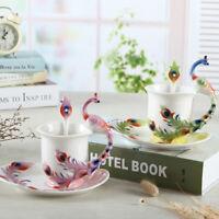 Peacock Ceramic Espresso Coffee Cup Set Art Deco Porcelain Tea Mug/Saucer/Spoon