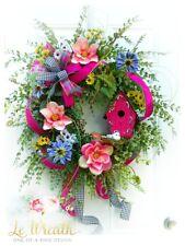 XL Bird House Floral Grapevine Door Wreath Summer Decor Home Arrangement NEW