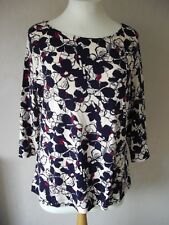 New M&S - size 12 - lovely IVORY Navy/ Cerise print TOP/ tunic - BNWoT