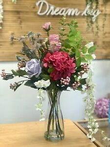 Artificial Flower Arrangement, Trailing Wisteria, Pink Hydrangea, Grey Rose,Vase