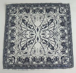 """ETRO Silk Pocket Square Scarf Pouchette 17""""x17""""  Made In Italy Paisley Off White"""