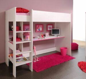 Hochbett Jugendbett Kinderbett mit Schreibtisch Smoozy Kiefer weiss