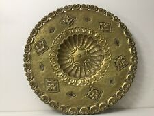 "Vintage Brass Wall Art Plate, Made in Italy #545, 19"" Diameter"