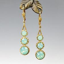 La Vie Parisienne Catherine Popesco 3 Crystals Linear Earrings in Pacific Opal