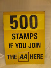 AA Join here aluminium sign. 500 stamps. vintage sign.enamel sign. RAC. AA.