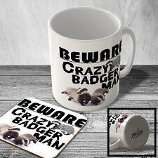 MAC_ANI_175 Crazy Badger Man - Mug and Coaster set