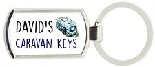 Rectangle Man's Personalised Caravan Metal Keyring Metal Supplied With Gift Box