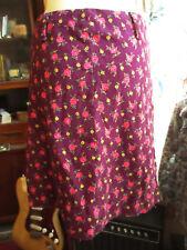 """27W 27"""" True Vtg 70s Twill Knit Purple Rose Print Mod handmade Sewn Skirt"""