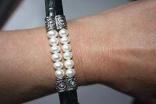 Bracelet Real Pearls Genuine  leather .925 Black Silver White Rhinestone