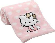 Lambs & Ivy Hello Kitty Pink/White Heart Luxury Coral Fleece Baby Blanket