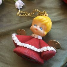Vintage Plastic Angel Christmas Ornament - Red Flocking - Tree Decoration