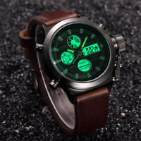 US Men Quartz Sport Military Army LED Watches Analog Stainless Steel Wrist Watch