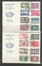 Belgium, 1958 United Nations exhibition, 16 vals on 2 covers with special cancel