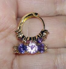 Earrings 9ct Gold Multi Colour Amethyst Gem Hoops Gift 17 mm Holiday Summer