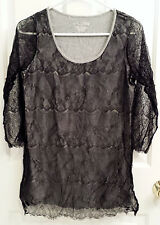 RXB Black And Grey Gray Women's Junior's Medium 3/4 Sleeve Lace Top (NW/OT)