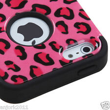 APPLE iPhone 5 T ARMOR HYBRID SNAP ON CASE SKIN COVER ACCESSORY PINK LEOPARD