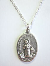 """Silver Plated St  Bernadette /OLO Lourdes Medal Italy Pendant Necklace 20"""" Chain"""