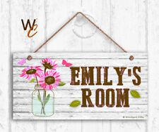 Pink Flowers & Mason Jar Sign, Personalized Kids Door Sign, Kids Name, 5x10 Sign