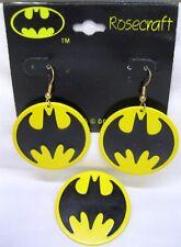 Vtg Nos 1964 Batman Large Dangle Earrings & Batman Logo Pin TM DC Comics
