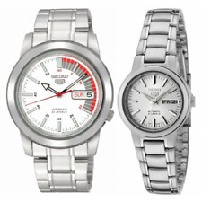 Seiko 5 Classic White Dial with Red Bar Couple's Stainless Steel Watch Set