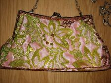 Pink With Green Beaded Leaf Pattern Clutch Bag 2 Detachable Straps