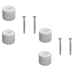 4 White Rubber Door Stop Stops Stopper 25mm Includes Screws